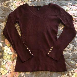 WHBM Maroon V-Neck Sweater
